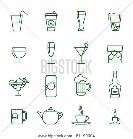 Drinks thin line vector icon set