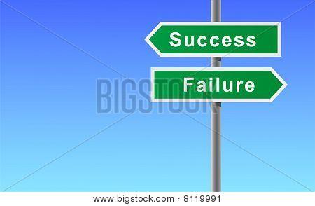 Arrows sign of success failure.