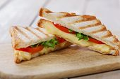 stock photo of tomato sandwich  - grilled sandwich toast with tomato and cheese - JPG