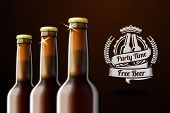 stock photo of liquor bottle  - Banner for beer adwertisement with three realistic brown beer bottles and beer label with place for your text and design - JPG