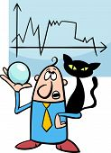 stock photo of divine  - Concept Cartoon Illustration of Funny Diviner Businessman with Black Cat and Crystal Ball - JPG