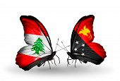 stock photo of papua new guinea  - Two butterflies with flags on wings as symbol of relations Lebanon and Papua New Guinea - JPG