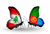 picture of eritrea  - Two butterflies with flags on wings as symbol of relations Lebanon and Eritrea - JPG