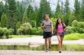 foto of multicultural  - Hiking people on hike in mountains in Yosemite - JPG