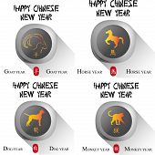 pic of chinese new year horse  - a set of labels with text and different animals for chinese new year - JPG