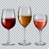 image of champagne color  - Three transparent glass goblets with wine of various colors - JPG