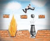 foto of overcoming obstacles  - A businessman runs to overcome difficult obstacles - JPG