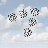 pic of geese flying  - Mobile network and communication concept as groups of organized teams of flying geese flock moving together as a business metaphor for teamwork management - JPG