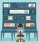 picture of workstation  - Vector flat concept of analytics information and data handling  - JPG