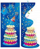 stock photo of happy birthday  - Two background or border vector illustrations for birthday - JPG
