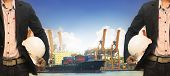 image of loading dock  - working man in port authority use for shipping logisticvesselnautical and marine transportcontainer yard and importexport loading industry - JPG