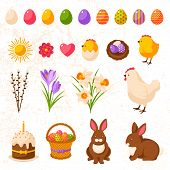 stock photo of easter eggs bunny  - Set of Cute Happy Easter Icons - JPG