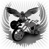 stock photo of chopper  - Rock n roll vector illustration background and chopper - JPG