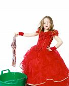 image of cinderella  - Young cinderella dressed in red preparing to mop the floor by dirty cloth - JPG