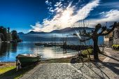 image of dock a lake  - Dock boats at Lake of Como Italy - JPG