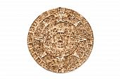 picture of cultural artifacts  - Light brown Maya calendar isolated on white background - JPG