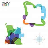 Постер, плакат: Abstract vector color map of Angola with transparent paint effect