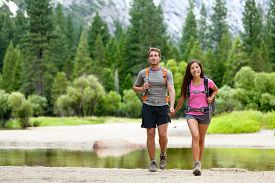 picture of nationalism  - Hiking people on hike in mountains in Yosemite - JPG