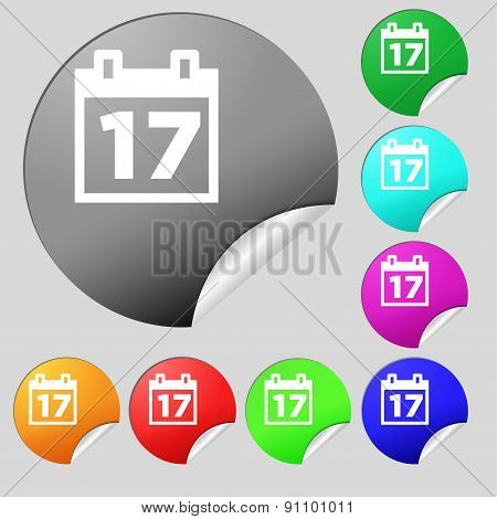 Calendar, Date Or Event Reminder  Icon Sign. Set Of Eight Multi-colored Round Buttons, Stickers. Vec