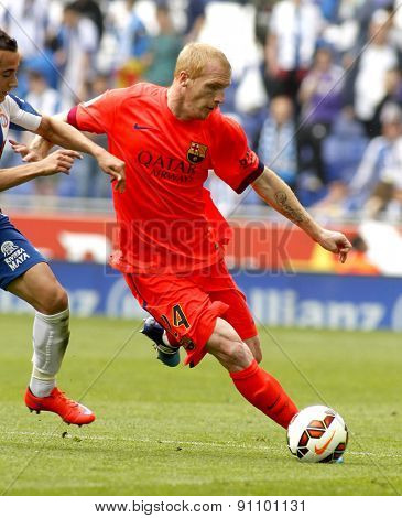 BARCELONA - APRIL, 25: Jeremy Mathieu of FC Barcelona during a Spanish League match against RCD Espanyol at the Power8 stadium on April 25, 2015 in Barcelona, Spain