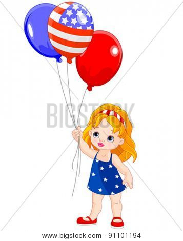 Illustration of cute Independence Day girl