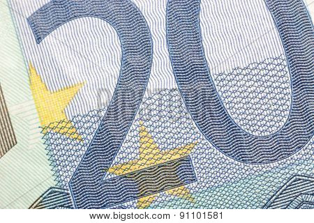 Euro Banknotes, Detailed On A New 20 Euro Banknotes