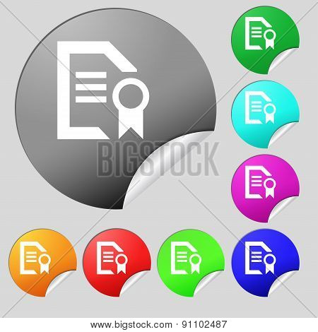 Award File Document  Icon Sign. Set Of Eight Multi-colored Round Buttons, Stickers. Vector