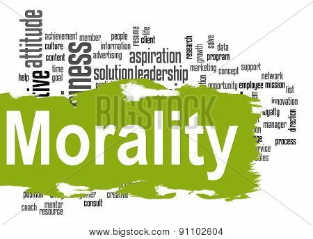 Morality Word Cloud With Green Banner