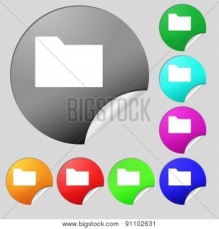 Document Folder  Icon Sign. Set Of Eight Multi-colored Round Buttons, Stickers. Vector