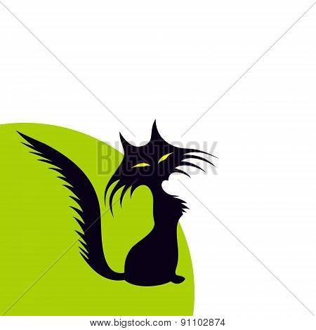 abstract silhouette of a green-eyed black cat