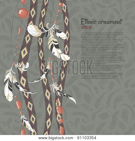Ethnic feathers and beads vector background for your text