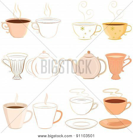 Collection of hand drawn teacups, saucer and teapot with outline