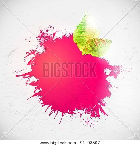 Bright Pink Colors Ink Spot With Leaves, Hand Drawing Art