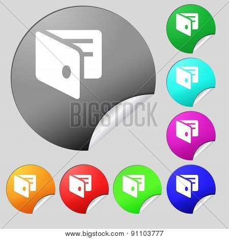 Ewallet, Electronic Wallet, Business Card Holder  Icon Sign. Set Of Eight Multi-colored Round Button