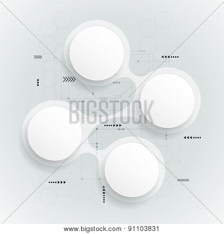 Abstract 3D White Paper Circle On Circuit Board