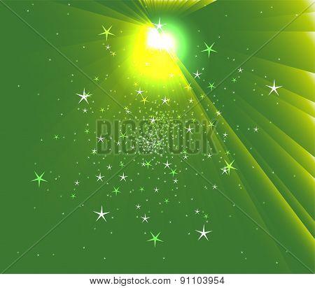 Sunbeam Star vector green background