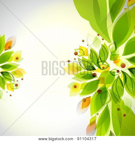 Abstract Green Colors Summer Floral Decor
