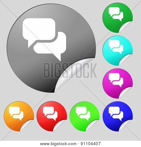Speech Bubble, Think Cloud  Icon Sign. Set Of Eight Multi-colored Round Buttons, Stickers. Vector