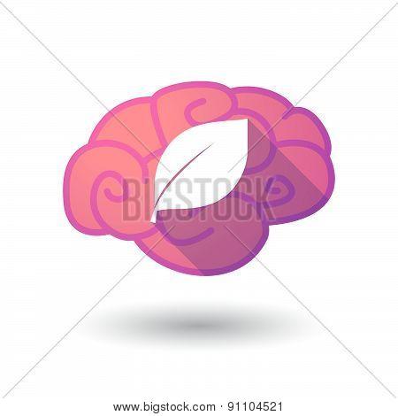 Brain Icon With A Leaf