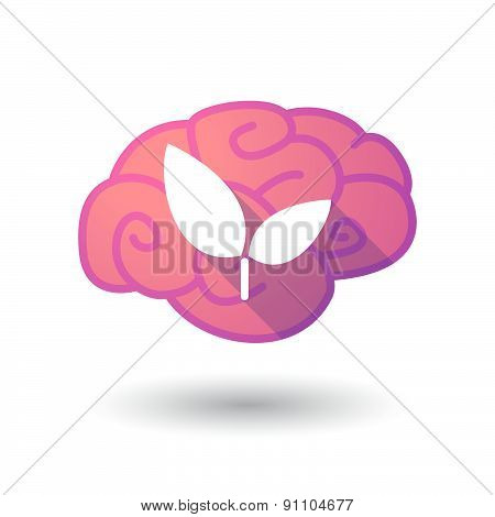 Brain Icon With A Plant