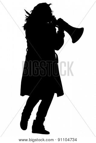 Young woman with a megaphone