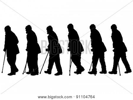 Elderly people with cane one white background