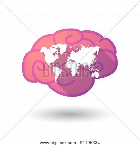 Brain Icon With A World Map