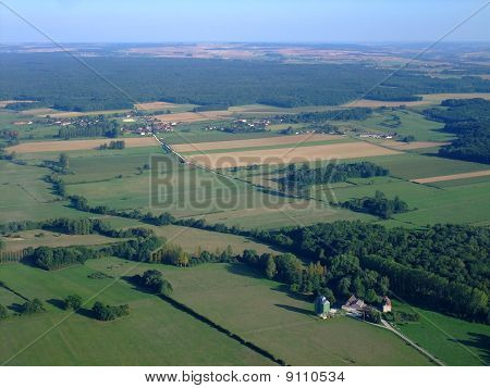 Aerial View Of French Countryside North Yonne