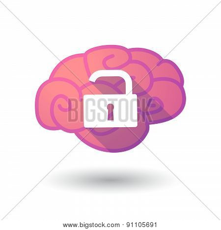 Brain Icon With A Lock Pad