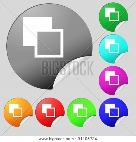 Active Color Toolbar  Icon Sign. Set Of Eight Multi-colored Round Buttons, Stickers. Vector