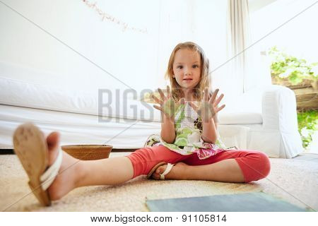 Beautiful Little Girl Showing Painted Hands