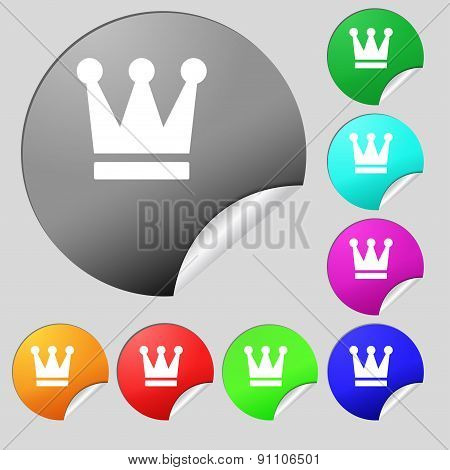 King, Crown  Icon Sign. Set Of Eight Multi-colored Round Buttons, Stickers. Vector