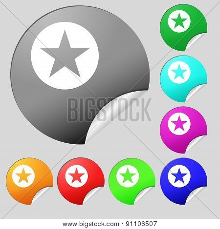 Star, Favorite  Icon Sign. Set Of Eight Multi-colored Round Buttons, Stickers. Vector