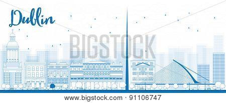 Outline Dublin Skyline with Blue Buildings, Ireland. Vector Illustration